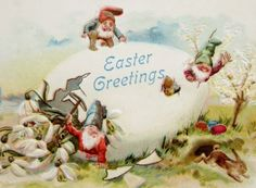 Elves Gnomes Play on Giant Easter Egg Rabbit Postcard Emb | eBay--$10 buy it now by 504a