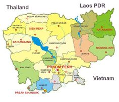Cambodia Map  The Northern side of Tonle Sap on Cambodia Map is Siem Reap Province where there are a lot of ancient temples. Angkor Wat temple is the largest in Angkor archaeological site which cover an area 401 sq km and there are more than 300 temples.  More info: http://www.asiavipa.com/cambodia/map.html