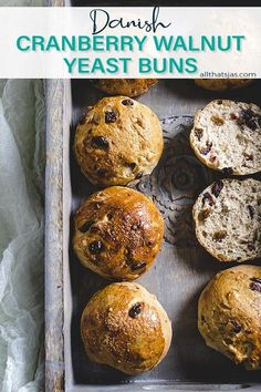 These easy Danish Yeast Buns made with a buttery cardamom dough, walnuts, cranberries, and raisins have just a touch of sweetness and are perfect to serve with a holiday dinner, or slathered with butter for breakfast or snack. | allthatsjas.com | #buns #pastry #rolls #sweet #homemade #danish #easy #allthatsjas #recipes #holidayrecipe #walnuts #cranberries #raisins #cardamom #hygge Yeast Rolls, Holiday Dinner, Quick Bread, Cornbread, Bread Recipes, Danish, Holiday Recipes, Snacks