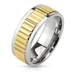 8mm Groove Lined Gold IP Center Stainless Steel Band Men's Fashion Ring