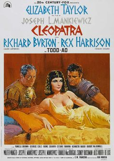 Theater poster for film CLEOPATRA with Elizabeth Taylor and Richard Burton & Rex Harrison. Old Movie Posters, Classic Movie Posters, Cinema Posters, Film Posters, Classic Movies, Old Movies, Vintage Movies, Film Movie, Poster S