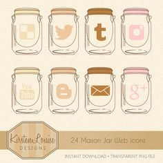 24 Mason Jar Web Icons by KirstenLouiseDesigns on Etsy, £3.00