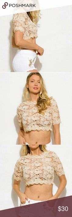 Nude Crochet 3/4 Sleeve Crop Top Perfect Spring/Summer Top to pair with cut offs and heels for a sweet and sexy look. Tops Crop Tops