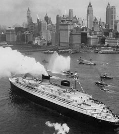 The SS Normandie, as she arrives to New York in June 2nd, 1935 on her maiden voyage.