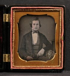 Sixth Plate Daguerreotype Portrait of a Seated Young Man