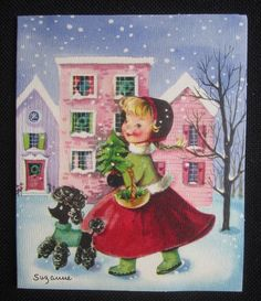 Vintage Christmas Greeting Card Little Girl in Red Dress signed Suzanne