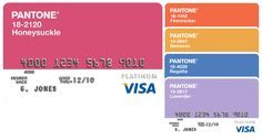 Pantone Visa Cards These cards in five different colours were chosen from the Pantone Fashion Colour Report for Spring 2011