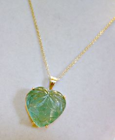 Vintage Carved Aquamarine 14k Gold Heart by Mosaicsandjewelry