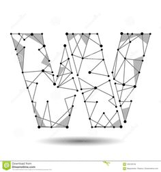 Mono lines style alphabetic fonts capital letter abcdefghij low poly letter w english latin polygonal triangle connect dot point line black white altavistaventures Image collections