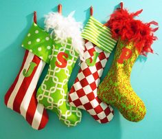 Christmas Stocking Personalized Family Stockings Whimsical Colorful Fun 110 00