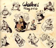 Vintage Disney Alice in Wonderland: Animation Model Sheet 350-8031 - Walrus
