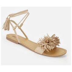 Justfab Flat Sandals Tabetta ($40) ❤ liked on Polyvore featuring shoes, sandals, beige, open toe sandals, fringe sandals, fringe flat sandals, platform shoes and platform sandals