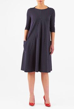 Polka dot cotton knit shift dress #eShakti