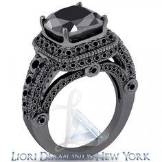6.35 Carat Cushion Cut Black Diamond Ring 14k Black Gold Pave Halo Vintage Style - Black Diamond Engagement Rings - Engagement - Lioridiamonds.com