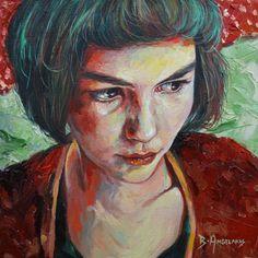 SALE 45% OFF: A Portrait of Amelie, original realism portrait painting of French Amelie film - movie room decor - film room decor - movie
