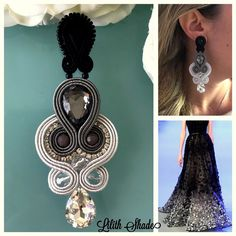Shibori, Soutache Earrings, Drop Earrings, Earring Tutorial, Jewelry Crafts, Diy And Crafts, Bows, Embroidery, Handmade