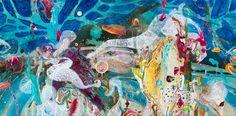 Amanda Krantz ORIGINAL Painting abstract underwater reef floral landscape sea