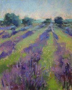 Lavender Field 8x10  Original Pastel Painting Karen Margulis. $75.00, via Etsy.