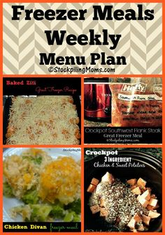 Freezer Meals Weekly Menu Plan is full of many tasty dinner recipe that you can prepare at the beginning of the week for your family!