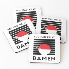 You had me at RAMEN - Get yourself a funny custom desing from RIVEofficial Redbubble shop : )) .... tags: #ramen #youhadme  #funny #humorous #noodles #tasty #japan #asia #soup #tasty #china #findyourthing #shirtsonline #trends #riveofficial #favouriteshirts #art #style #design #nature #shopping #insidecollection #redbubble #digitalart #design #fashion #phonecases #access #customproducts #onlineshopping #accessories #shoponline #onlinestore #shoppingonline Funny Design, Ramen, Noodles, Coasters, Custom Design, Asia, My Arts, Soup, Trends