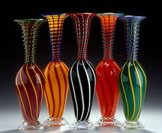 Cane Coil Bottles. Hanson Art Glass