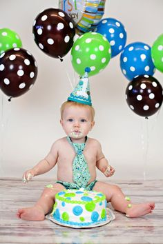 Infant Boy Cake Smash First Birthday Outfit. $24.99, via Etsy.