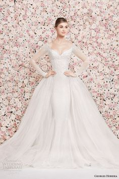 http://weddinginspirasi.com/2014/01/17/georges-hobeika-bridal-2014-wedding-dresses/ georges hobeika #bridal 2014 illusion long sleeve #wedding dress over skirt #weddingdresses #weddings #weddingdress #novia #brautkleid