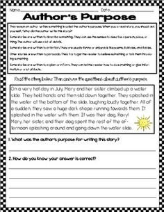Printables Authors Purpose Worksheets authors purpose worksheet using pie identifying the purpose