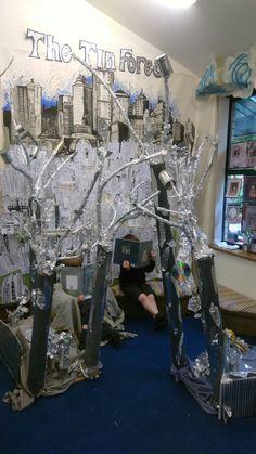 The Tin Forest by Helen Ward The Flower by John Light classroom display Forest Book, Forest Art, Forest House, Classroom Layout, Classroom Displays, Classroom Ideas, Ks2 Display, Bookworm Gardens, Forest Classroom