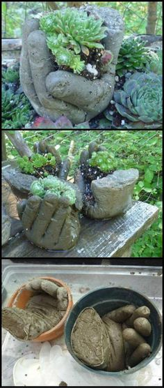How To Make DIY Hand Planters theownerbuilderne… Does your garden need something eye catching? These DIY hand planters might inspire you. Diy Garden Projects, Garden Crafts, Outdoor Projects, Garden Art, Garden Design, Easy Garden, Hand Planters, Concrete Planters, Garden Planters