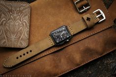 Handmade Vintage Leather Strap vintage brown for #applewatch #apple watch #apple by BlackForestAtelier