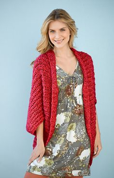 Simple Crochet Shrug #90689 by Lion Brand Yarn