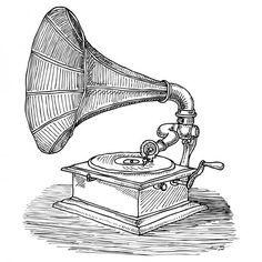 Phonograph by Karl Addison Music Drawings, Ink Pen Drawings, Cool Drawings, Camera Sketches, Art Sketches, Antique Illustration, Illustration Art, Object Drawing, Phonograph