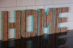 HOME decorative letters Wood Letter Crafts, Wood Letters, Decor Crafts, Diy Crafts, Home Decor, Knife Block, Diys, Alphabet, Craft Projects