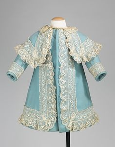 """Coat, 1885-90. Juliette Geneva Hollenback (1881-1917) was the youngest daughter of the prominent financier and philanthropist John Welles Hollenback (1835-1927). The members of the Hollenback family were avid travelers, making frequently trips throughout Europe and the United States. Made for Juliette in Paris, this charming coat was made in the style of Renoir's """"Girl with Watering Can"""""""