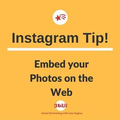 Instagram Tip: Embed Your photos on the web Did you take a photo that is absolutely amazing and you want to share it on your blog? Go to Instagram on the web and find the picture you want to share click on the symbol shown as three dots and choose the Embed option. You can copy and paste the code anywhere on the web to show off the photo you took. If your content is set as private on Instagram you wont be able to share the photo. Want to learn more about building your business using…