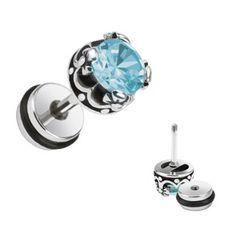 Faux piercing plug d'oreille et zirconium bleu Zy - € Piercing Plug, Faux Piercing, Piercings, Genre, Plugs, Cufflinks, Ear Jewelry, Steel, Blue