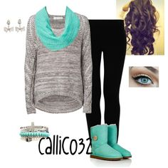 Winter fashion! Love the colors. Would only wear jeans instead of leggings.