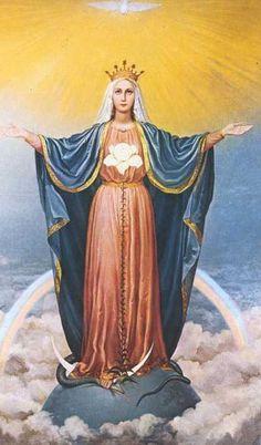 MARÍA REINA Y MEDIANERA DE TODAS LAS GRACIAS. Sus símbolos son: la Paloma, el Lirio, el Arco-iris, la Serpiente, el Globo del mundo, la Media Luna y la Eucarístía.