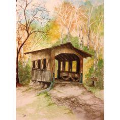 """Autumn Bridge""  • 9 x 12 Watercolor"