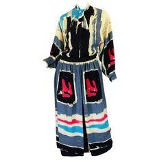 1981 Michaele Vollbrach Silk Skirt & Top