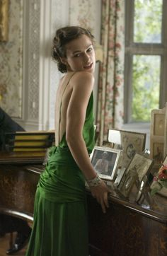 Keira Knightley as 'Cecilia Tallis' - 2007 - Costume design by Jacqueline Durran - 'Atonement' - Emerald green silk evening gown with spaghetti straps and bias cut bodice - Style: 1930's - @~ Watsonette