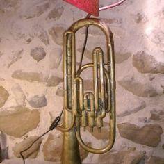 Lampe tuba en cuivre abat-jour fait main