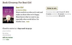 #BeatGirl #giveaway on #goodreads! Enter to win a copy of the book!