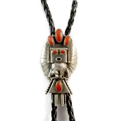 Silver + Coral Kachina Bolo Tie, artist signed