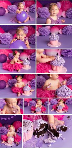 Purple and Pink Girly Cake Smash (Cake Smash) Nicole Israel Photography