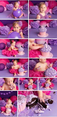 Purple and Pink Girly Cake Smash (Cake Smash) Nicole Israel Photography Smash Cake Girl, Birthday Cake Smash, First Birthday Cakes, First Birthday Parties, Cake Smash Photography, Birthday Photography, Newborn Photography, Book Bebe, 1st Birthday Pictures