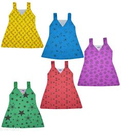 Frocks & Dresses  Jisha V Neck Multicolor Sleeveless Printed Frock Set of 5  Fabric: Cotton Sleeve Length: Sleeveless Pattern: Printed Multipack: Pack Of 4 Sizes: 3-4 Years (Bust Size: 11 in Length Size: 20 in)  6-12 Months (Bust Size: 10 in Length Size: 15 in)  12-18 Months (Bust Size: 10 in Length Size: 16 in)  2-3 Years (Bust Size: 10.5 in Length Size: 18 in) Country of Origin: India Sizes Available: 2-3 Years, 3-4 Years, 6-12 Months, 9-12 Months, 12-18 Months   Catalog Rating: ★4.2 (489)  Catalog Name: Tinkle Elegant Girls Frocks & Dresses CatalogID_1152181 C62-SC1141 Code: 783-7216267-994