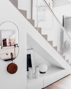 Oh my - this staircase is dreamy! Read all about how to optimize small spaces from the interior designers of this townhouse development -… Townhouse Designs, Narrow House, Modern Art Deco, House And Home Magazine, Tiny Living, Living Room, Decoration, Small Spaces, Stairs