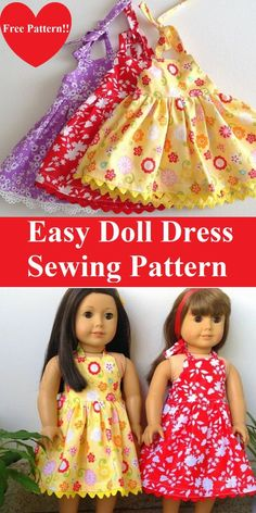 Free American Doll Dress Sewing Project - Sew Crafty Me - - Learn how to sew this american 18 inch doll midi/maxi dress pattern in less than an hour. It is great as a beginner project too. American Girl Outfits, American Girl Diy, American Doll Clothes, American Girl Dress, Doll Sewing Patterns, Doll Dress Patterns, Free Doll Clothes Patterns, Easy Dress Pattern, Skirt Patterns